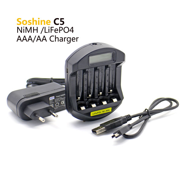 Soshine C5 battery charger for 4pcs LiFePO4 14500/10440 NiMH AA/AAA LCD Quick Battery Charger(USB 5V+DC 12V)