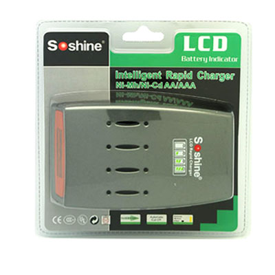 Soshine C3 LCD Quick Charger for 4pcs NiMh / NiCd AA AAA Batteries