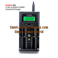 China Soshine H2 LCD Universal Charger for Liion/LiFePO4 26650 18650 9V NiMH C AA AAA 9V battery supplier