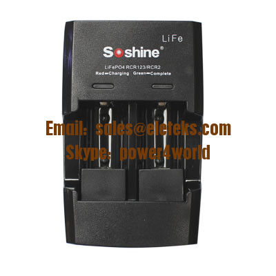 Soshine RAPID CHARGER For LiFePO4 RCR123 CR2 3.2V batteries, dual led charger for lifepo4 batteries