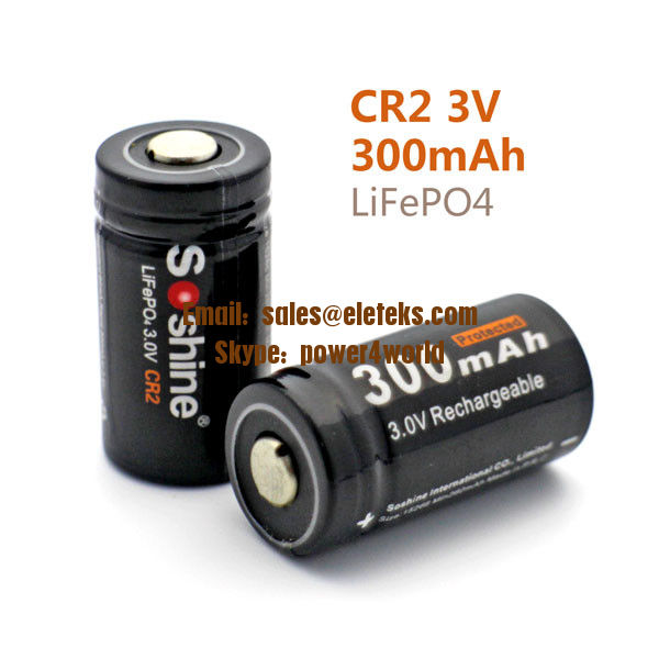 Soshine LiFePO4 15266 (IFR CR2) 3.2V 300mAh Protected Rechargeable Battery