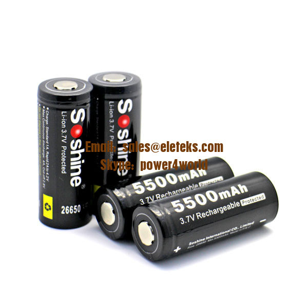 Soshine 3.7V rechargeable Li-ion 26650 5500mAh Protected Battery with button top