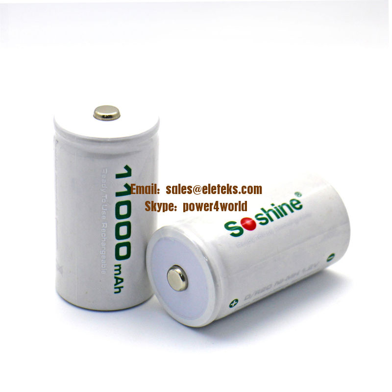 Soshine D/R20 Size Rechargeable Batteries NiMH 11000mAh