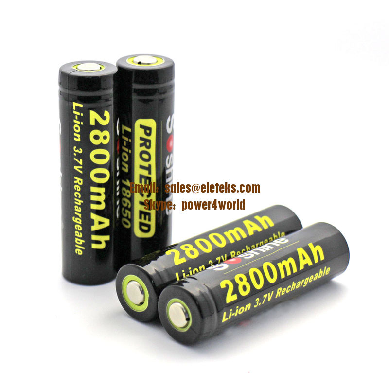 SOSHINE Brand 18650 Li-ion Battery Protected: 2800mAh 3.7V