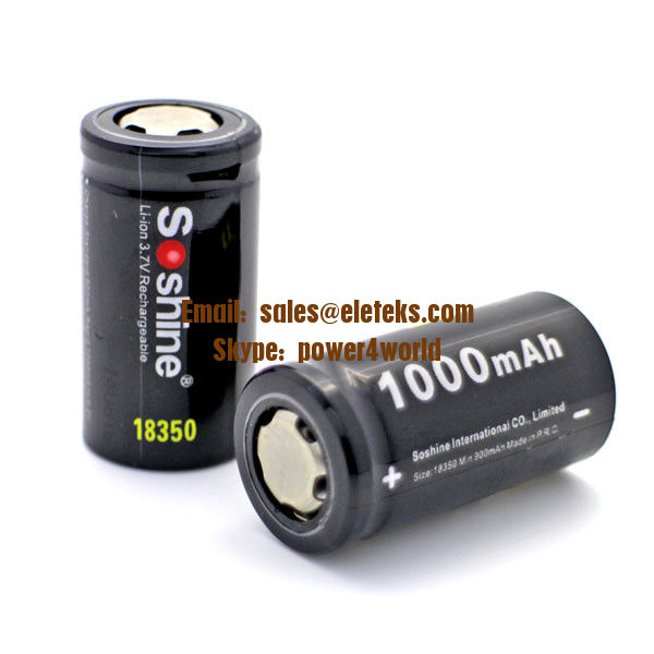 Soshine new 18350 IMR battery 3.7V 1000mAh rechargeable 18350 battery for e cigarette