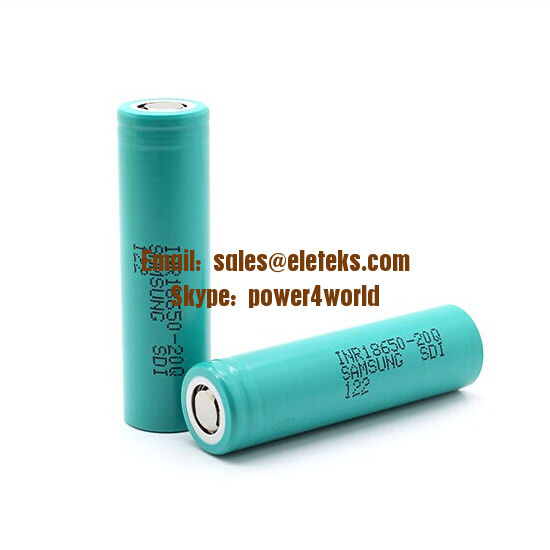 Samsung INR18650-20Q 2000mAh (green) flat top 3.7V Li-ion rechargeable battery cells Authentic 18650 batteries