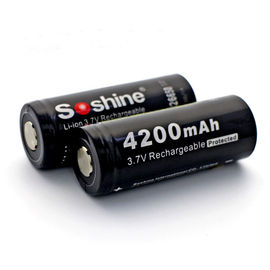 high capacity Soshine 3.7V rechargeable Lithium battery 26650 Protected Battery: 4200mAh
